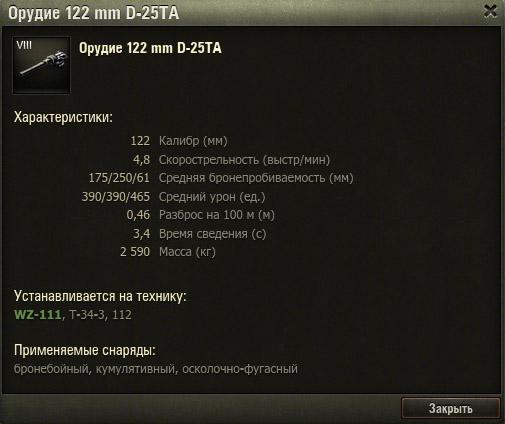 Характеристики орудия WZ-111