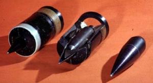 Снаряд APDS в разрезе, виден сердечник с баллистическим наконечником