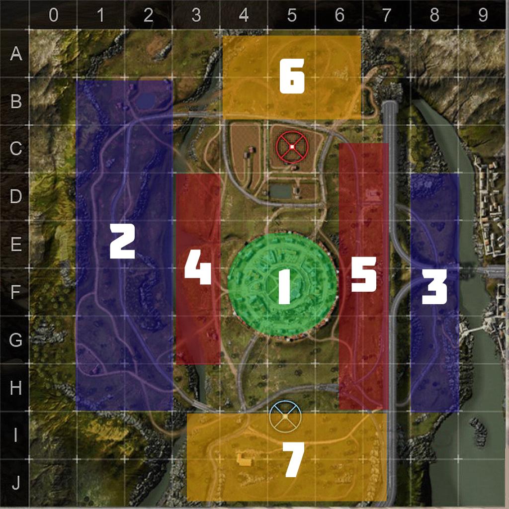 Зоны карты «Тихая река». 1 — городок, 2 — холмистая дорога, 3 — дорога за автострадой, 4 и 5 — проезды у городка, 6 и 7 — возвышенности у баз.